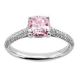 2.01 ct Pink cushion  white round diamonds ring wh